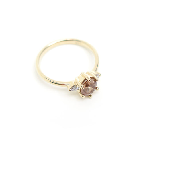 Pink Hexagon Spinel Trilogy Ring in Yellow Gold