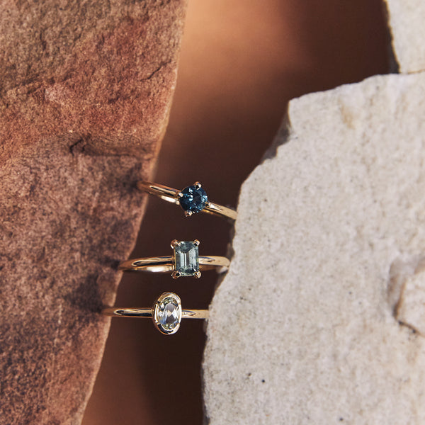 Four Claw Blue Green Emerald Cut Tourmaline Ring in Yellow Gold