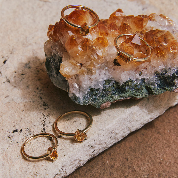 Four Claw Round Citrine Ring in Yellow Gold