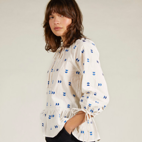 Sideline Magda Embroidered Top White/Blue
