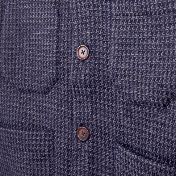 UNIVERSAL WORKS HOUNDSTOOTH CARDIGAN - NAVY