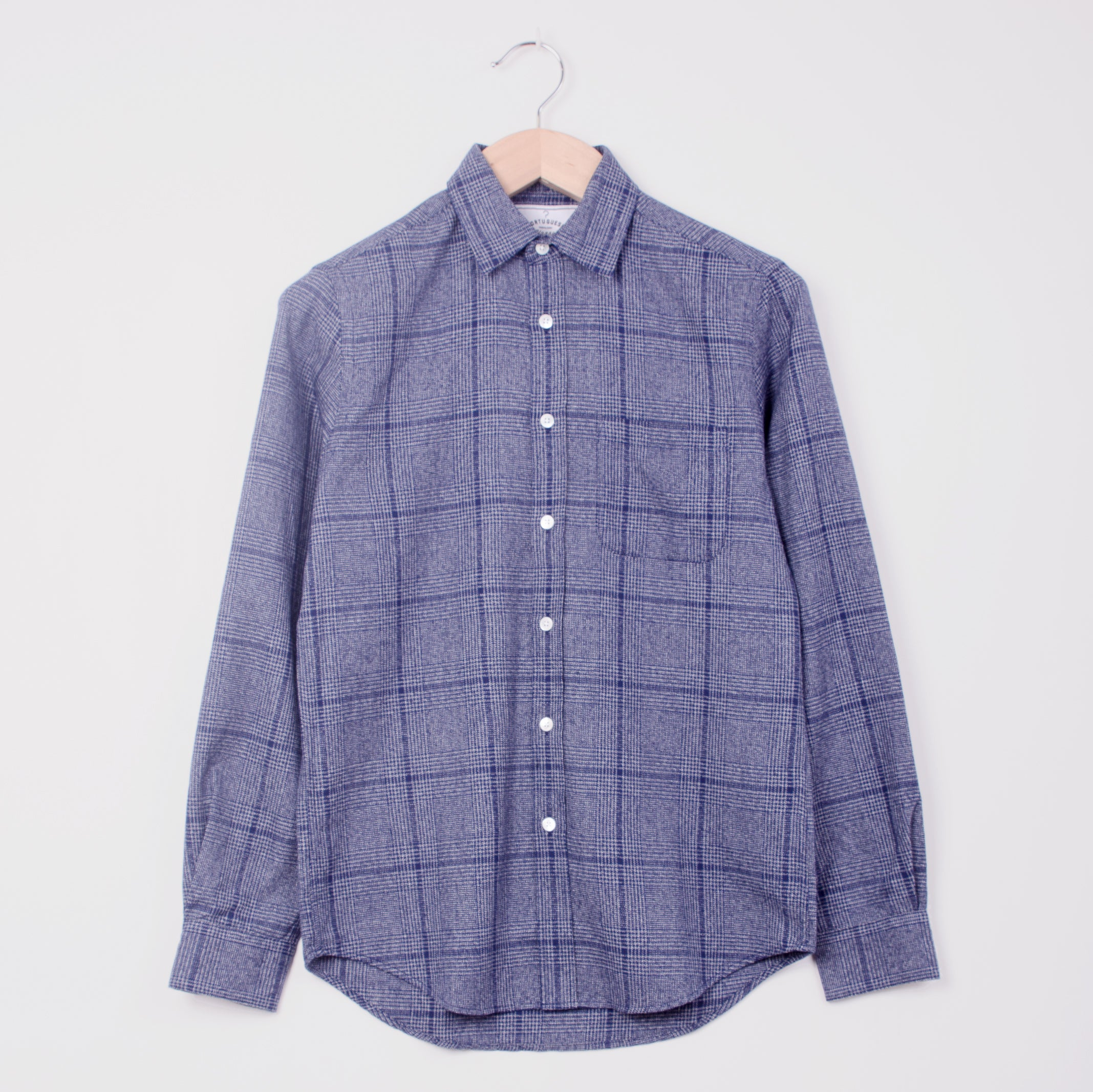 PORTUGUESE FLANNEL PRINCE OF WALES  SHIRT - BLUE