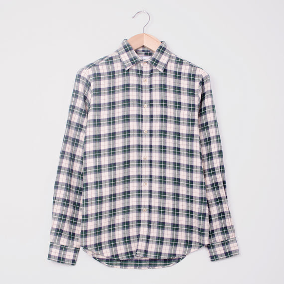 PORTUGUESE FLANNEL MENTHOL SHIRT - GREEN CHECK
