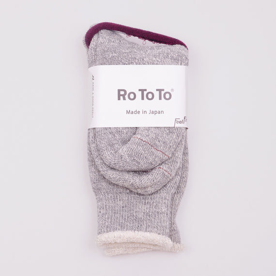 ROTOTO DOUBLE FACE SOCKS - MEDIUM GREY