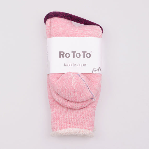 ROTOTO DOUBLE FACE SOCKS - LIGHT PINK