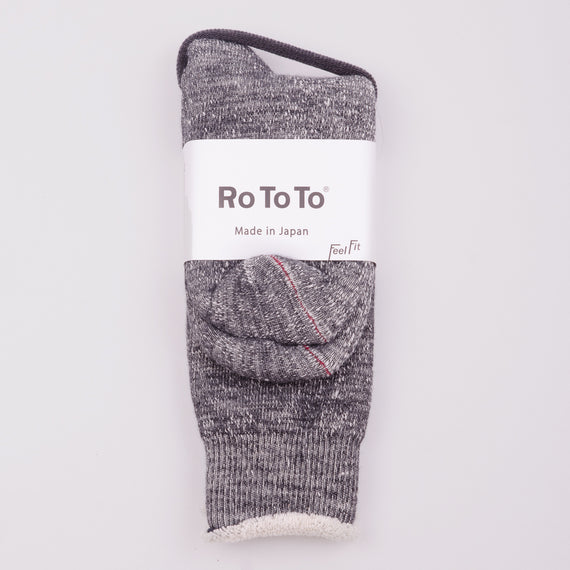 ROTOTO DOUBLE FACE SOCKS - CHARCOAL