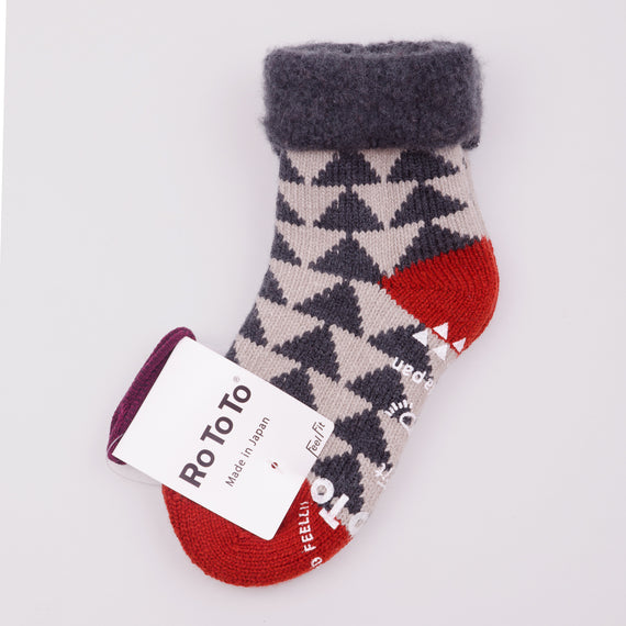 ROTOTO COMFY ROOM SOCKS - CHARCOAL / RED