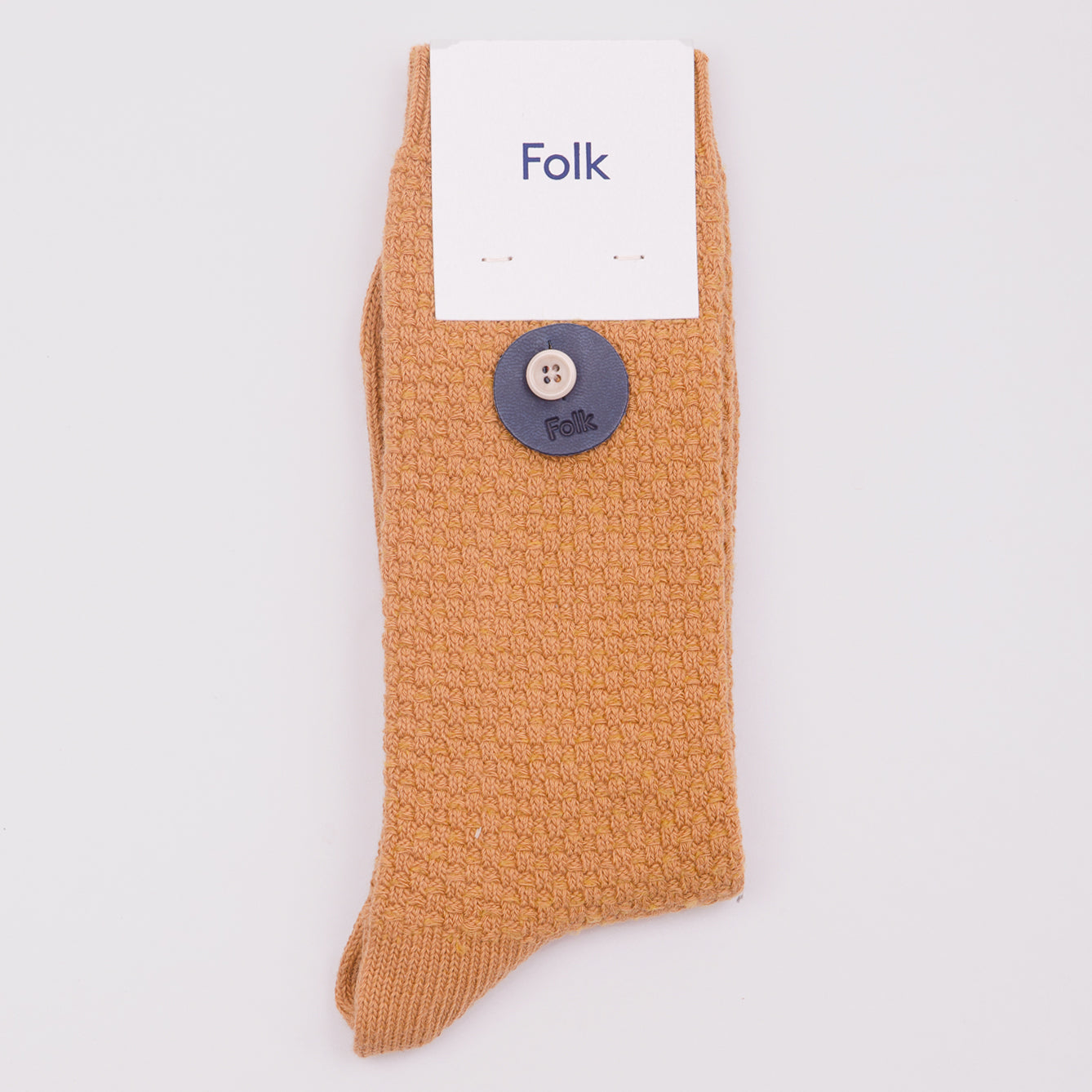 FOLK MEN'S WAFFLE SOCKS - GOLDEN YELLOW