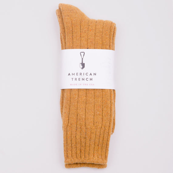 AMERICAN TRENCH WOOL AND SILK BOOT SOCKS - OCHRE