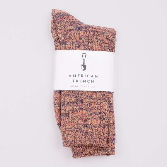 AMERICAN TRENCH RANDOM PLAIT CREW SOCKS - AUTUMN