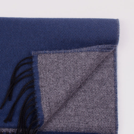 UNIVERSAL WORKS DOUBLE SIDED SCARF - NAVY/GREY
