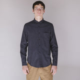 FOLK SHOULDER PATCH SHIRT - NAVY CHECK