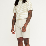 Wax Holm Striped Cotton Shorts Linen Blend Natural