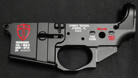 SPIKES TACTICAL CRUSADER LOWER RECEIVER (COLOR FILLED RED)