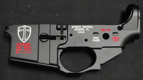 SPIKES TACTICAL CRUSADER LOWER RECEIVER (COLOR FILLED WHITE)
