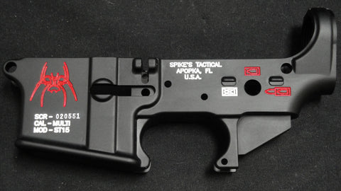 SPIKES TACTICAL SPIDER LOWER RECEIVER (COLOR FILLED RED)