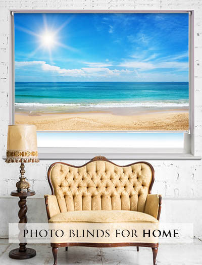 printed roller blinds with beach scenes