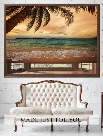printed picture blinds with tropical images