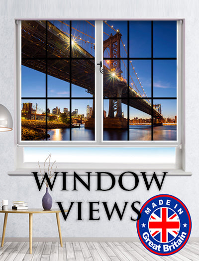 window view printed roller blinds