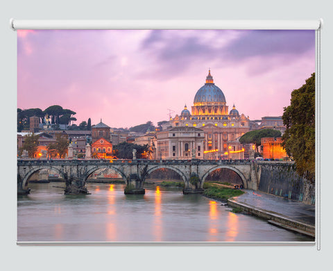 Tiber River And Saint Peter Cathedral In The Evening, Rome, Printed Picture Roller Blind - RB998