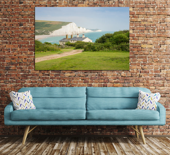 Cottages & Seven Sisters Coastal Canvas Print Wall Art Picture - SPC148