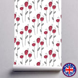 Abstract Red Rose Floral Pattern Removable Self Adhesive Wallpaper - WM612 - Art Fever