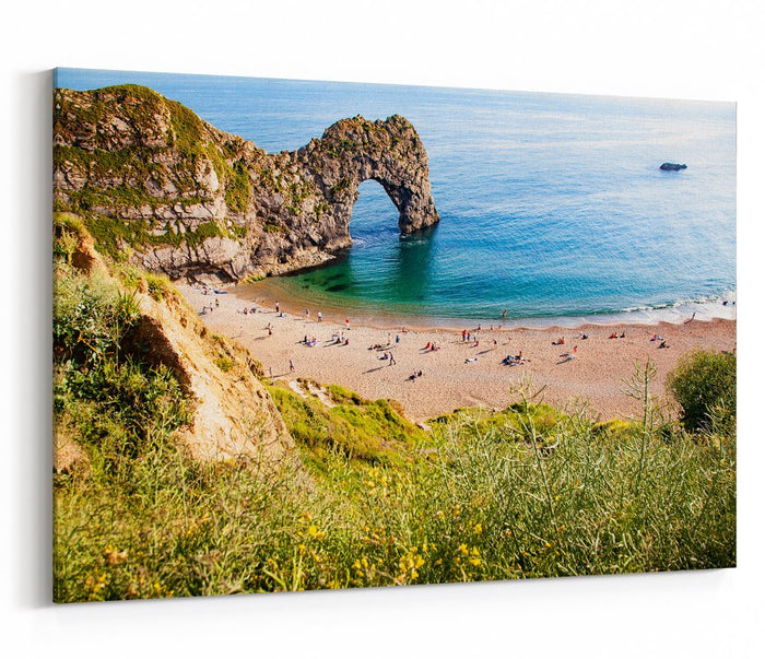 Aerial View Of Durdle Door, Jurassic Coast Of Dorset Canvas Print Picture - SPC255 - Art Fever - Art Fever