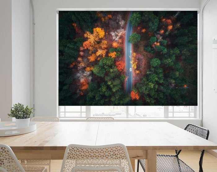 Aerial View of Road through the Autumn Forest Image Printed Roller Blind - RB972 - Art Fever - Art Fever