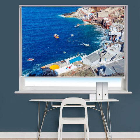 Aerial View Of The Old Harbour of the Village Of Oia On Santorini Bay Printed Photo Picture Roller Blind - RB727 - Art Fever