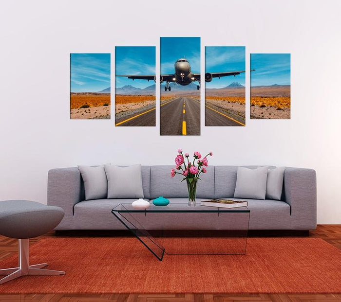 Aeroplane Flying Low Scene Image Multi Panel Canvas Print wall Art - MPC130 - Art Fever