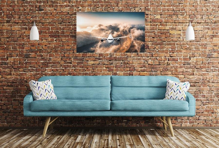 Aeroplane Flying Over Mountains Scene Image Printed Onto A Single Panel Canvas - SPC106 - Art Fever