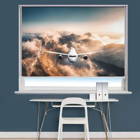 Aeroplane Flying Over Mountians Image Printed Roller Blind - RB840 - Art Fever
