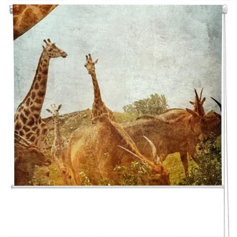 african animals Grunge Effect Printed Picture Photo Roller Blind - RB175 - Art Fever