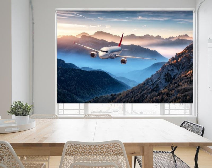 Airplane flying over foggy mountains Image Printed Roller Blind - RB969 - Art Fever - Art Fever