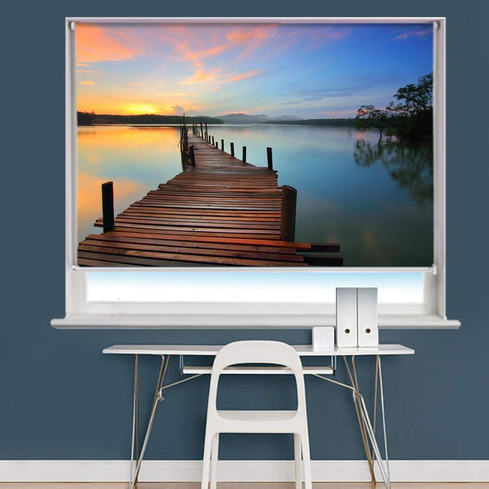 Amazing Pier & Sunset Scene Printed Picture Roller Blind - RB747 - Art Fever