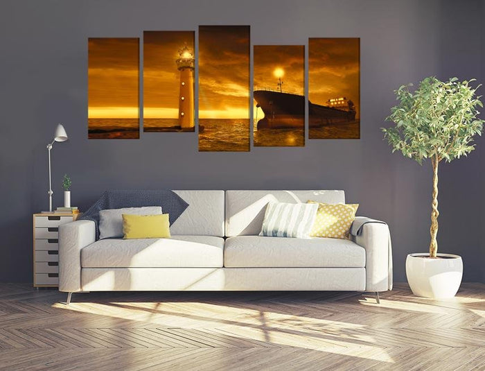 Anchored Ship & Lighthouse at Sunset Multi Panel Canvas Print wall Art - MPC17 - Art Fever