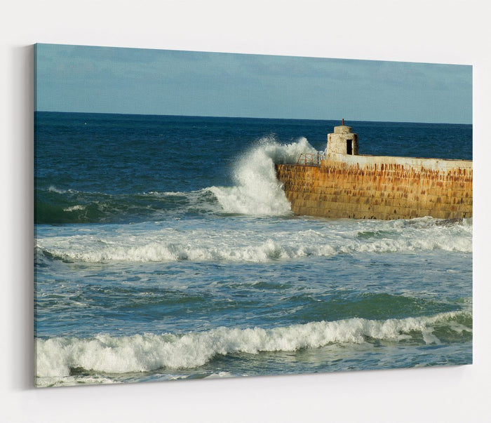 Atlantic waves at Portreath pier, Cornwall Printed Canvas Print Picture - SPC168 - Art Fever - Art Fever