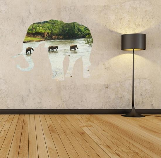 ATWS10 - Elephants in the river marching wildlife animal wall sticker - Art Fever