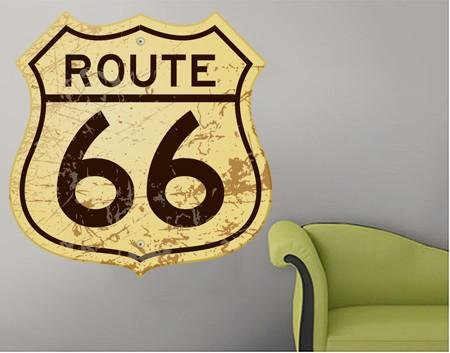 ATWS28 - ROUTE 66 VINTAGE STYLE ROAD SIGN WALL STICKER - Art Fever