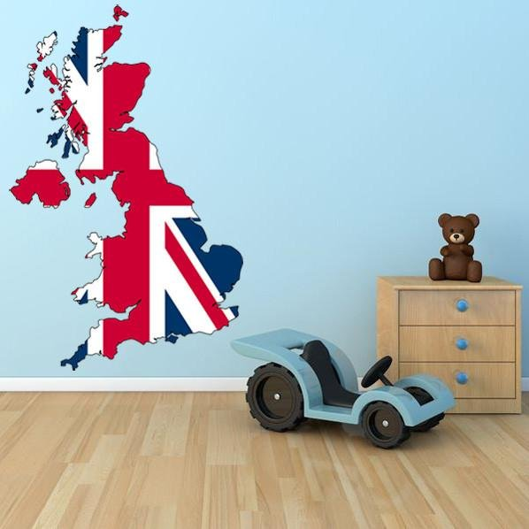 ATWS3 - UK MAP WITH UNION JACK REMOVABLE WALL STICKER - Art Fever