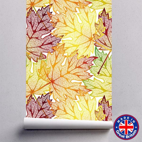 Autumn Leaves Floral Pattern Removable Self Adhesive Wallpaper - WM616 - Art Fever - Art Fever