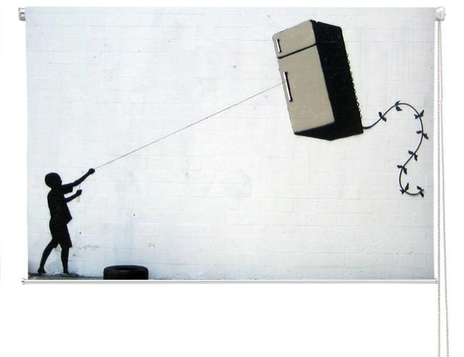 Banksy fridge kite Printed Picture Photo Roller Blind - RB117 - Art Fever - Art Fever