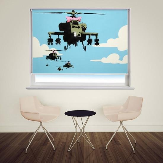 Banksy happy choppers Printed Graffiti Picture Photo Roller Blind - RB126 - Art Fever - Art Fever