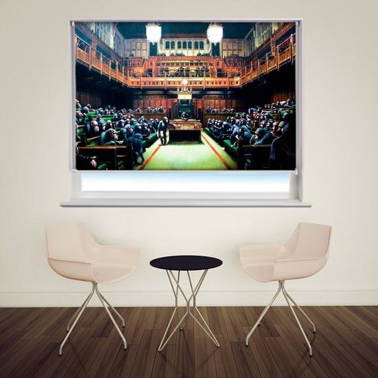 Banksy monkey parliament Printed Graffiti Picture Photo Roller Blind - RB128 - Art Fever - Art Fever