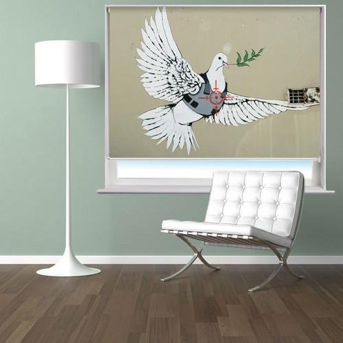 Banksy Peace Dove Printed Picture Photo Roller Blind - RB116 - Art Fever - Art Fever