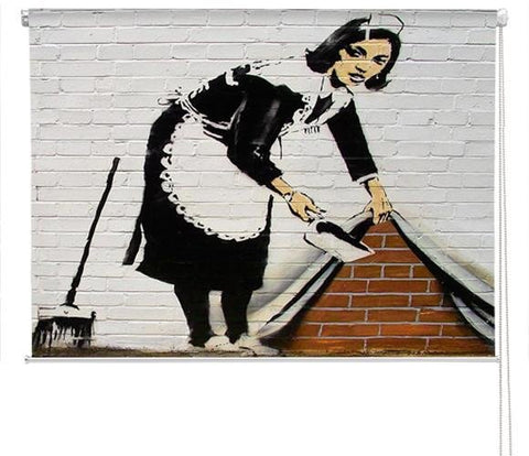 Banksy sweeper maid Printed graffiti Picture Photo Roller Blind - RB129 - Art Fever - Art Fever
