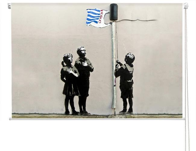 Banksy tesco bag flag Printed Graffiti Picture Photo Roller Blind - RB124 - Art Fever - Art Fever
