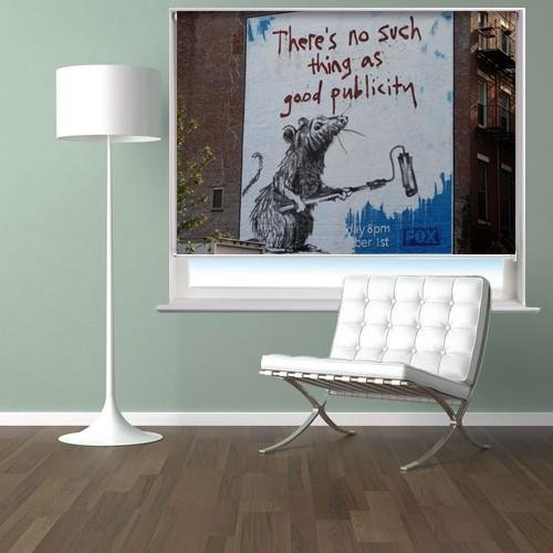 Banksy There's No Such Thing As Good Publicity Printed Graffiti Picture Photo Roller Blind - RB122 - Art Fever - Art Fever