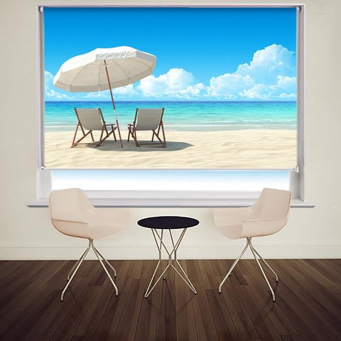 Beach chair and umbrella on sandy beach Printed Photo Picture Roller Blind - RB506 - Art Fever - Art Fever