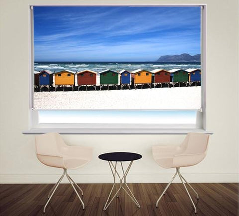 Beach Huts Printed Photo Picture Roller Blind - RB329 - Art Fever - Art Fever